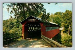 East Arlington VT-Vermont Scenic Old Covered Chiselville Bridge, Chrome Postcard