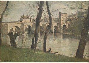 Artist signed Painting Postcard Jean Baptiste The Mantes bridge