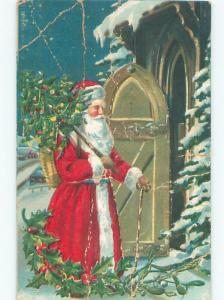 Pre-Linen Christmas LONG ROBE SANTA CLAUS AT THE DOOR AB4816