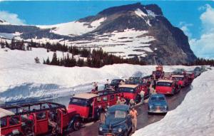 LOGAN PASS MONTANA SNOW COVERED SUMMIT~OLD CARS~OLD TOUR BUS POSTCARD c1964 PSMK