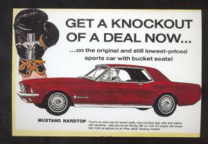 1965 FORD MUSTANG CAR DEALER ADVERTISING POSTCARD BOXING GLOVES