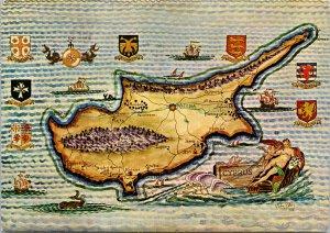 Map of Cyprus c1984 w/ Stamps John Sabry Art 1973 Postcard C3