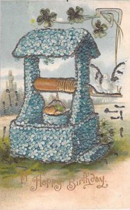 A Happy Birthday, Glitter Lined, Embossed,Wishing Well Flower Vintage Postcard