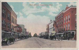 c1910 ASHTABULA Ohio Postcard MAIN STREET DAVID Cafe Dentist & More