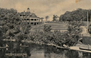 PORTLAND, Maine, 1900-10s; Casino at Riverton Park, People in canoes