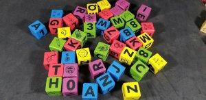 Wood Blocks Letters Numbers Animals Robots Vintage (44) Wood Blocks  MrSTUFF B8