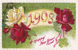 NEW YEAR, 1908; Re and Yellow Roses, Four Leaf Clovers