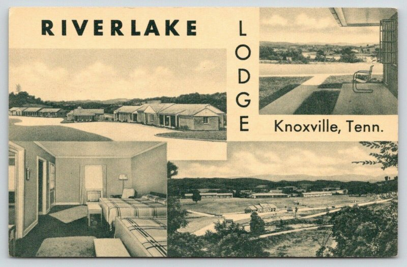 Knoxville Tennessee~Riverlake Lodge Panorama~Inside Out~1940s CT Photo Platin PC