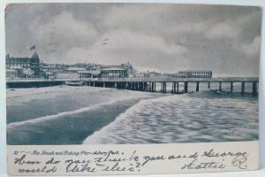 Old postcard 1906 The Beach and Fishing Pier Asbury Park, NJ