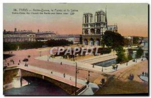Paris Old Postcard Notre Dame and the Seine aprvis