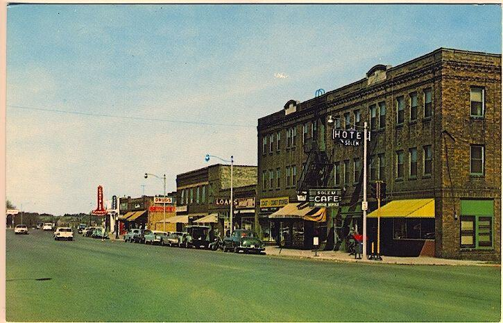Cloquet MN Main Street Hotel Solem Drug Store Mail Box Old Cars Vintage Postcard