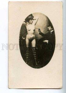 204660 RUSSIA Artist draws bare girl BODY ART photo postcard