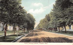 Wichita Kansas~North Lawrence Avenue~Homes~Tree-Lined Dirt Road~1908 Postcard