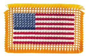 Postcard USA Tied Silk Flag Art made with 425 knots of Thread from the 1930s