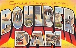 Boulder City Nevada~Large Letter Linen~Boulder Dam~1937 Postcard