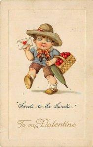 LP16  Valentine's Day  Winsch   Postcard Basket Hearts Umbrella