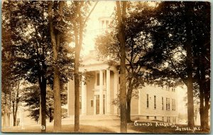 1920s BETHEL, Maine RPPC Real Photo Postcard GOULDS ACADEMY School Building