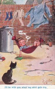 Man + Cat Hammock Sailor Shirt Washing Wash Line Blow Smoke Rings Comic Postcard