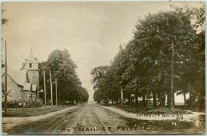 FAYETTE, Ohio RPPC Real Photo Postcard EAST MAIN STREET Church View 1909 Cancel