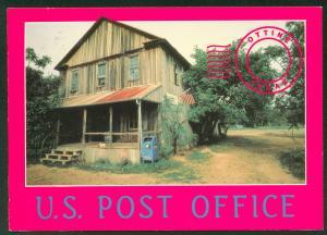 U.S. Post Office Ottine Texas Old Wood Building Continental Postcard