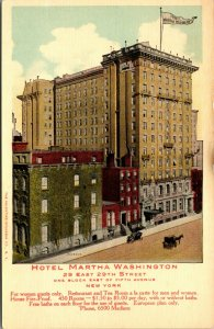 Martha Washington Hotel - New York - For Women Guests Only - Old Postcard
