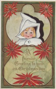 CHRISTMAS , 1910-10s ; Child & Poinsettia flowers