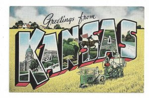 Postcard KS Greetings from KANSAS LARGE Letter Linen Tractor Pull Type Combine
