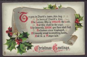 Christmas Greetings,Holly Postcard