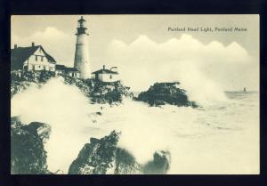 Portland, Maine/ME Postcard, Portland Head Light/Lighthouse, Pounding Surf