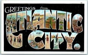 ATLANTIC CITY New Jersey Large Letter Postcard CURTEICH White Border c1930s