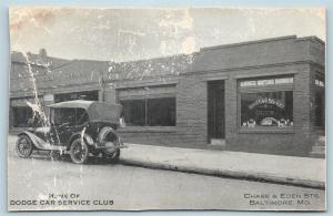 Postcard MD Baltimore Dodge Car Service Club Madison Square Garage S6