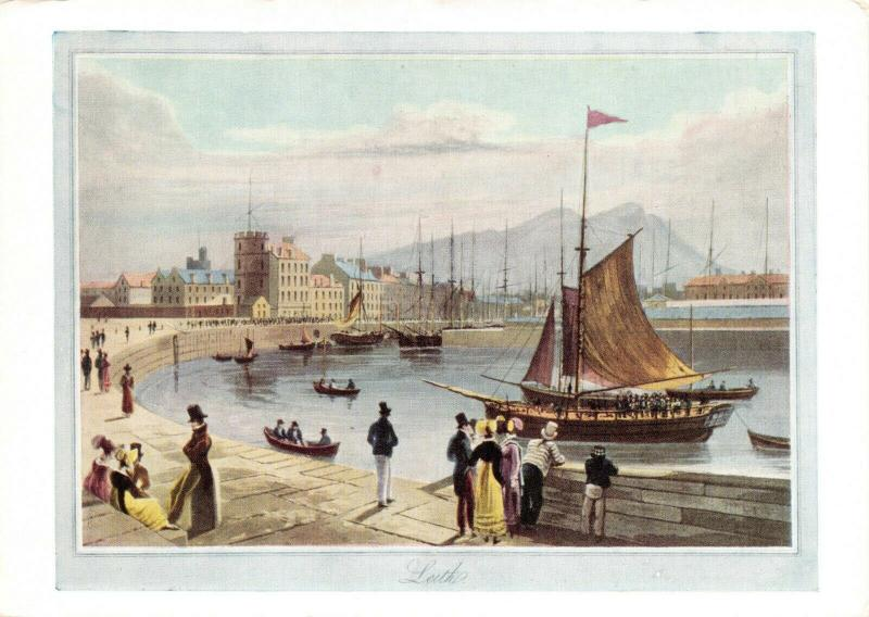 Art Postcard Leith Harbour from the Peir Coloured aquatint 1822 by W.Daniell 26R
