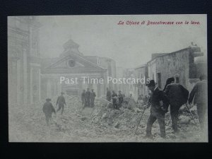 Vesuvius Eruzione del Vesuvio CHURCH OF BOSCOTRECASE - LAVA Naples c1906 RARE PC