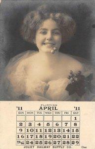 RPPC Joliet Railway Supply Co. Chicago, IL April 1911 Calendar Vintage Postcard