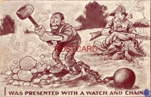 1911 I WAS PRESENTED WITH A WATCH AND CHAIN lawman watching man work rock pile