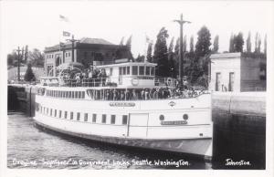 RP: Greyline Sightseer Boat, Government Locks, Seattle, Washington, 1958 PU