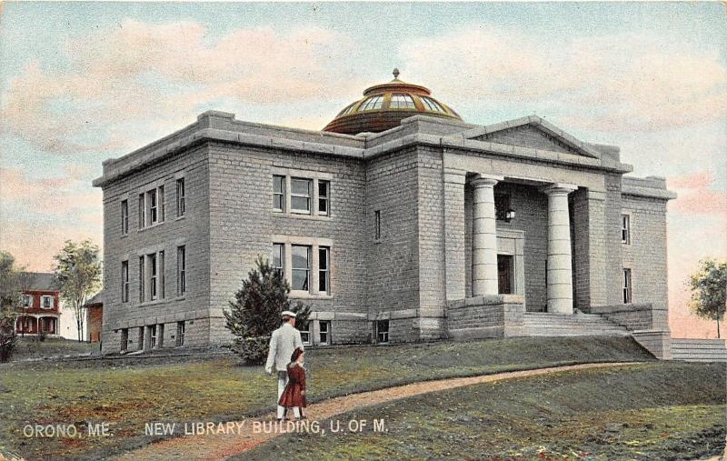 Orono Maine~University of Maine~New Library Building~Lady with Girl~c1910 Pc