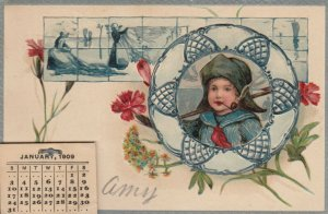 Dutch boy in frame smoking pipe, Flowers, 1909 Calendar, PU-1908, PFB 6998