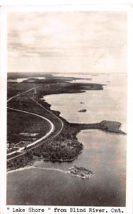 C9/ Blind River Canada Ontario Real Photo RPPC Postcard 1943 Lake Shore Birdseye