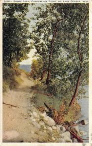 Lake Geneva Wisconsin~Conference Point~Rocky South Shore Path~1927 Postcard