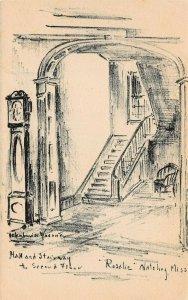 LP14 Natchez  Mississippi Postcard Hall Stairway 2nd floor  Helen Louise Woerner