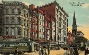 Utica NY The Busy Corner Trolley's Storefronts 1912 Postcard