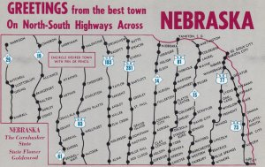 MAP , North-South Highways of Nebraska , 50-60s