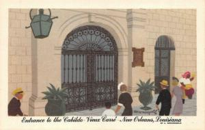 NEW ORLEANS, LA Louisiana  ENTRANCE~CABILDO~Vieux Carre  c1940's Linen Postcard