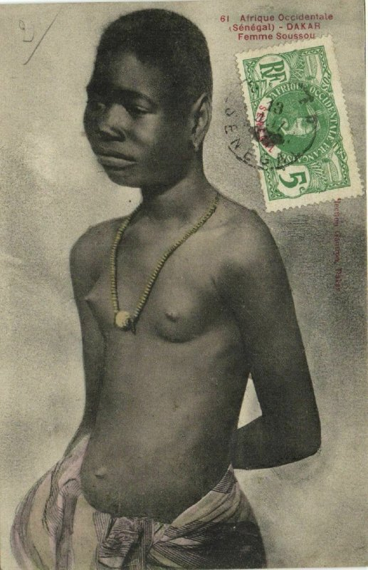 CPA AK Senegal Ethnic Nude Fortier - 61. Dakar - Femme Soussou (71116)