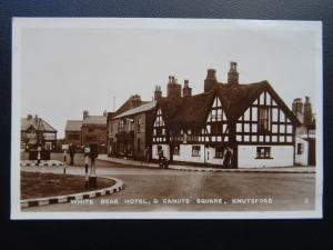 KNUTSFORD The White Bear Hotel & Canute Square Old RP Postcard by R.A. Series