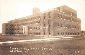 B55/ Grafton North Dakota ND Real Photo RPPC Postcard c40s State School Sunset
