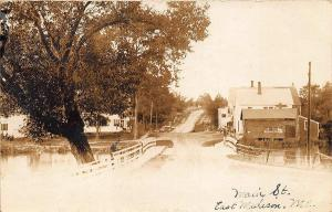 East Madison ME Main Street Business District 1913 Real Photo Postcard
