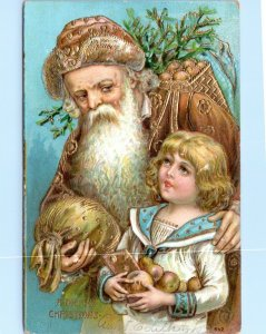 1907 Santa in Gold Robe Postcard Christmas Victorian Child Embossed Germany LG