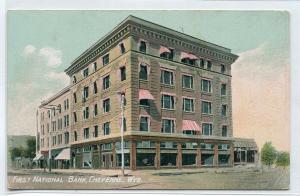 First National Bank Cheyenne Wyoming 1910c postcard